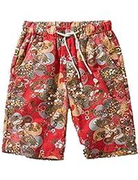 Huateng La Mode des Hommes à imprimé Floral à séchage Rapide Shorts de  Planche à Cordon 354fe4e400c