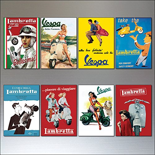 8-flexible-fridge-magnets-vintage-italian-scooter-vespa-lambretta-motorbike-adverts