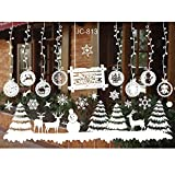 Jaysis Autocollant Vitrine Noel Decoration Noel Flocons De Neige Stickers Autocollant Joyeux Merry Christmas Stickers Grand Stickers Muraux Noel Stickers Vitre Fenetre Noel Stickers Pere Noel