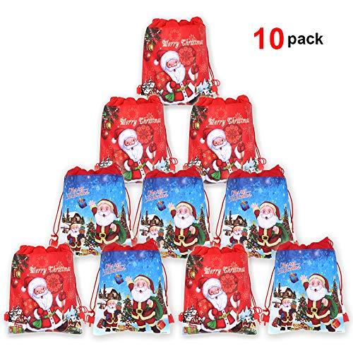 Howaf grandi sacchetti regalo di natale, babbo sacchetti regalo borsa da coulisse per bambini natale regalo natale bomboniere caramelle biscotto, set di 12