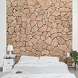Apalis Vliestapete - Apulia Stone Wall - Alte Steinmauer aus großen Steinen - Sandsteintapete - Fototapete Quadrat | Vlies Tapete Wandtapete Wandbild Foto 3D Fototapete für Schlafzimmer Wohnzimmer Küche | Größe HxB:336x336cm