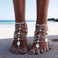 Sethain Caviglia vintage Argento Bracciali alla caviglia bohémien Gioielli piede metallico Moda Catene a piedi per donne…