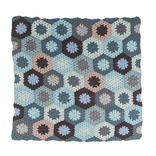 Sebra Häkel-Babydecke, pastell blau, Junge, Pucktuch, Einschlagdecke, Neugeborenes Geschenk, 100% Baumwolle, L85cm x B85cm, NEU