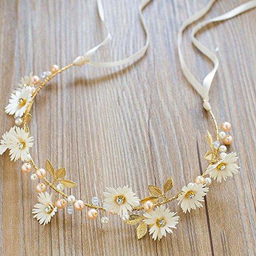 ICYANG Stirnband Braut Girlanden Haarbänder Strass Perlen Vine Rebe Haarschmuck Blume Blätter mit Bändern Hochzeit Zubehör
