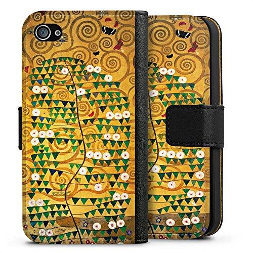 Apple iPhone SE Tasche Hülle Flip Case Klimt Tree of Life Kunst Sideflip Tasche schwarz