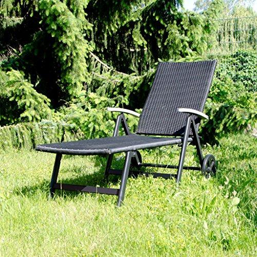 Aluminium Liege Alu Gartenliege Sonnenliege / Rollliege Liegestuhl Poly Rattan 192x56cm
