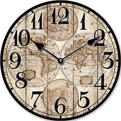 RELOJ DE PARED MAPAMUNDI ANTIGUO 30CM NOSTALGIA - Tinas Collection