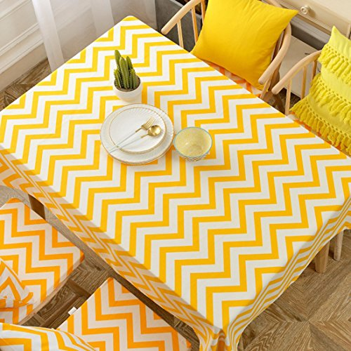 Price comparison product image Modern Minimalist Yellow Rectangular Cotton And Linen Striped Tablecloth Coffee Table Cover,Yellow,120×120