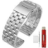 Cinturino di ricambio per orologio da polso, in acciaio inossidabile, opaco, 5 file, con doppia serratura, per uomo e donna,