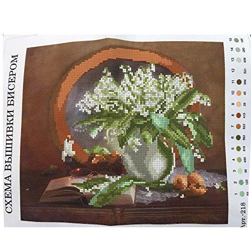 Perlenstickerei Komplett Set Maiglöckchen 27x37cm 0616-6