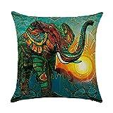 hengjiang Kissen Southeast asiatischen Stil Elefant Gemälde 120g Dicke Baumwolle Leinen doppelseitig 45,7x 45,7cm 45x 45cm Überwurf Kissen für Home Sofa Bett Deko 06