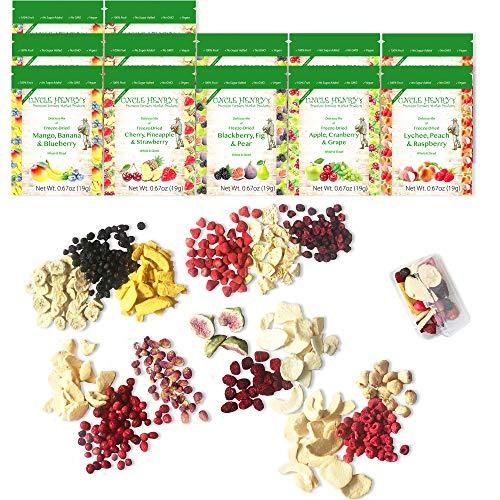 Gefriergetrocknete Früchte: 15 Getrocknete, Köstliche Früchte Erdbeere, Blaubeere, Himbeere & Mehr. 226 Gramm, 12 Große Tüten: die Ultimative Trockenobst Snack Box