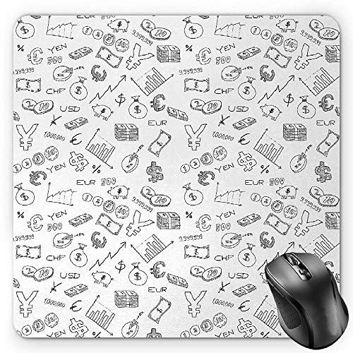BGLKCS Money Mauspads,Monochrome Pattern with Euro Dollar Yen Symbols Coins Piggy Bank Stock Graphs Doodle,Standard Size Rectangle Non-Slip Rubber Mousepad,Black White (Dollar Und Coin Bank)