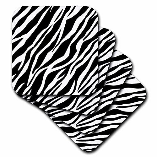 3dRose CST_56302_4 Fliesenuntersetzer, Zebramuster, Zebramuster, Schwarz/Weiß, 8 Stück -