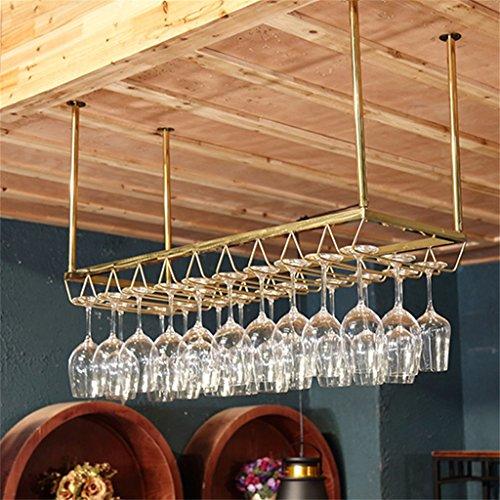 Etagère à bouteille Étagère à vin en acier inoxydable loft étagère murale plafond stockage vin étagères suspendus bouteille de vin et verres support pour/maison/bar-or, L100xW35cm