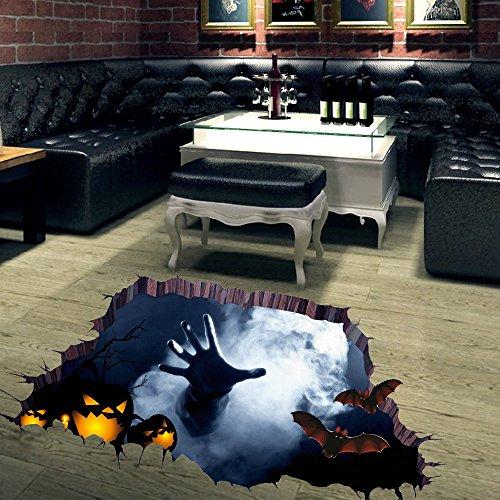 Fröhliches 3D Happy Halloween Haushalt Zimmer Boden Wandaufkleber Wandbild Dekor Aufkleber Abnehmbar ()