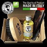 Set per la cura della barba. Spazzola da barba in legno di faggio e setola di cinghiale. Olio emolliente idratante 100 ml. Confezione regalo. Spazzola + tonico. Made in Italy.