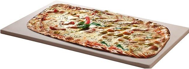 Santos Pizzastein XXL für Gas Grill, Brotbackbackstein Set für Backofen, eckig 45 x 35 cm x 1,5 cm bis 1000 Grad Celcius