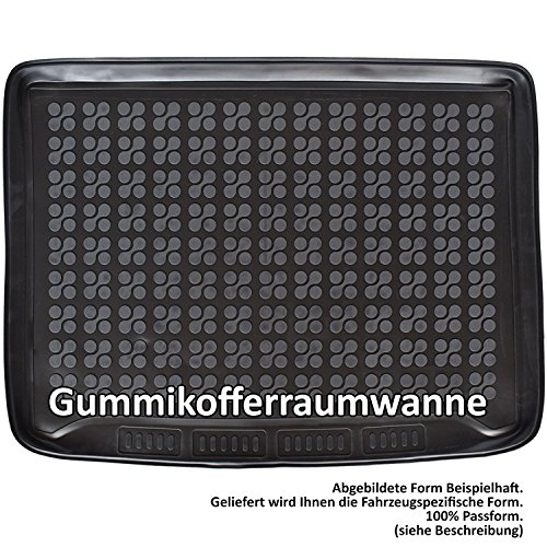AME Auto-Gummiwanne mit Schmutzrand, Geruch-vermindert und Passgenau mit Anti-Rutsch Oberfläche für den Laderaum 230637KW