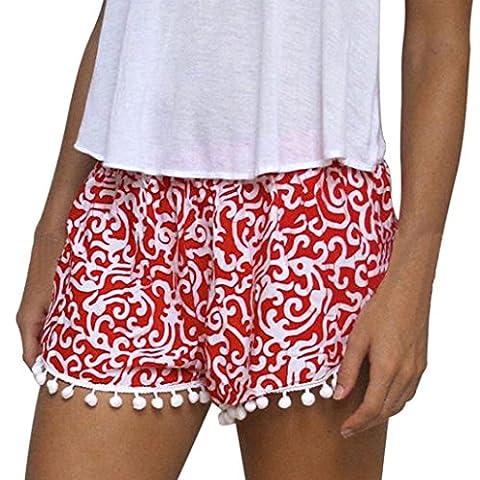 Malloom® Polka Dot Femmes Shorts Taille Haute Tassel Eté Casual Pantalons Courts Nouveau (XL, Rouge(A))