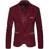 Mens Soft Corduroy Blazer Casual Slim Fit Suit Jackets Vintage Retro Style Smart Tailored One Button Tuxedo Suit Blazer…