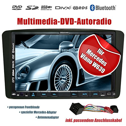 2DIN Autoradio CREATONE V-336DG für Mercedes Viano W639 (2004-2006) mit GPS Navigation (Europa), Bluetooth, Touchscreen, DVD-Player und USB/SD-Funktion