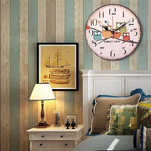 EsportsMJJ Grande De Madera De Pared Reloj Búho Vintage Rústico Para Decoración De Oficina En Casa Cafe