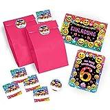 6 Einladungskarten zum 6. Kindergeburtstag für Mädchen incl. 6 Umschläge, 6 Tüten / rosa, 6 Aufkleber / Einladung sechste Geburtstag / Einladungen zum Geburtstag / Kartenset für Kindergeburtstag / glitzer (6 Karten + 6 Umschläge + 6 Tüten / rosa + 6 Aufkleber)