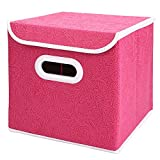 COKOSIM Boîtes de rangement imperméables à l'étain non tissées durables, Stockage domestique Cubes Boîte Containers Tiroirs à toit et poignée 25x25x25cm, 35L (Rose rouge)