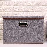 COKOSIM Faltboxen Aufbewahrungsbox Faltbar mit Deckel mit Öffnung 45 x 30 x 30cm (Grau)