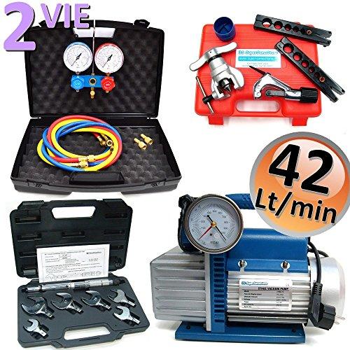 KIT professionale Climatizzazione - Pompa 42 lt Set manometri 2 vie r32 r410a r134a r407c