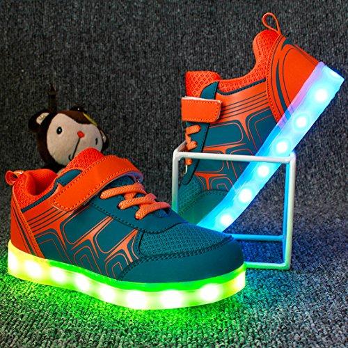 Joymoze Aufladbare modische LED-Sneakers für Kinder, Leuchtschuhe für Jungen und Mädchen Blau Und Orange