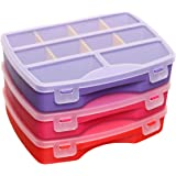 idea-station assortiment box set 3 stuks, 19 x 15 cm, warme kleuren, opbergbox, sorteerbox, sorteerbox, koffer, magazijn voor
