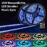 RGBW LED Stripes Streifen 10M Farbwechsel Dimmbar Sync mit Musik, IP65 Wasserdichte 5050 SMD LED Lichtband Außen, Warmweiss Lichterkette LED Lights Bänder mit IR Remote Controller für Party Deko