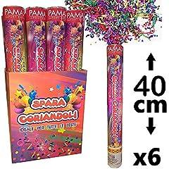 Idea Regalo - Palucart 6 sparacoriandoli Colorati spara coriandoli 40cm Cannone sparacoriandoli 0244