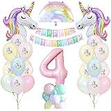 4 Anni Unicorno Festa Compleanno Ragazze, 4 Anni Unicorno Palloncino Compleanno Banner Palloncino Macaron Lattice Palloncini