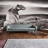 ADLFJGL 3D Persönlichkeit Große Wandbilder Löwe Tapete Tapeten Tapeten Kunst Und Literatur Schwarz Weiß Sofa Tv Wand Tapeziert Im Hintergrund 200 × 140Cm Wallpaper
