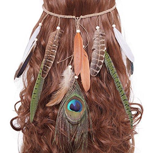 LONGBLE Indianer kopfschmuck Feder Stirnband Damen Boho Haarschmuck mit Handgewebte Quasten Pfauenfeder Holzperle Einstellbar Haarband Kopfschmuck ()