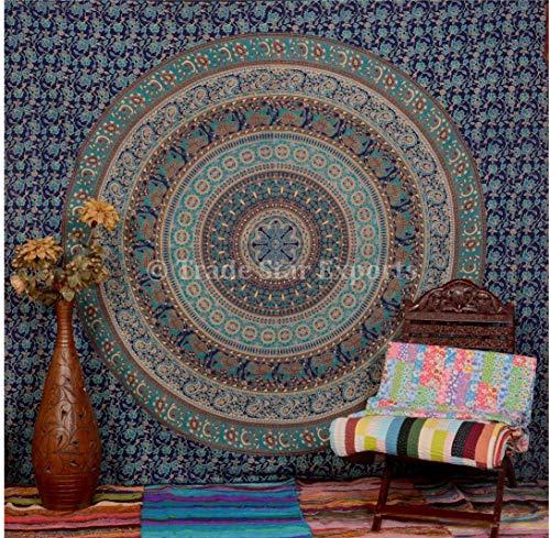 Trade Star Exports Wandteppich Indischer Elefant, Boheme-Mandala, Tagesdecke für Doppelbetten, Zimmerdekoration, Baumwolle
