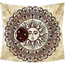 Sol y Luna Tapiz Hippie Indio Mandala Tapices Decoración de Pared Boho Tapestry 60x90.5 pulgadas