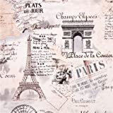 Creme Retro Paris Eiffelturm Stoff von Timeless Treasure