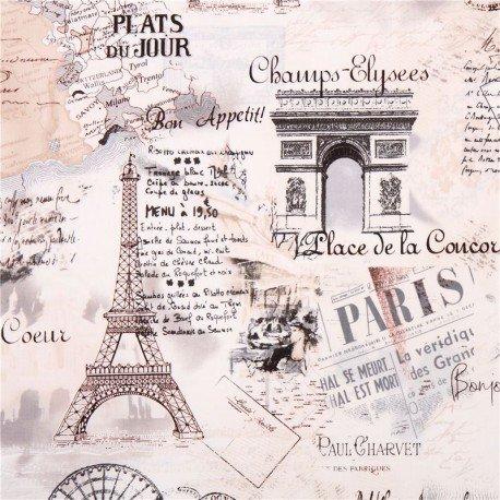Tissu Timeless Treasures rétro, Paris, La Tour Eiffel crème