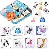 Guess Who I AM Giocattoli Puzzle di Animale in Legno, Divertenti Carte Abbinate per la Prima Educazione, Giocattoli Interatti