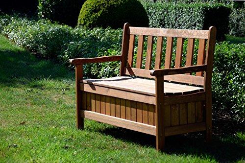 dobar Gartenbank Massive mit Lehne 2-Sitzer aus FSC Holz, 115 x 58 x 89 cm, braun -