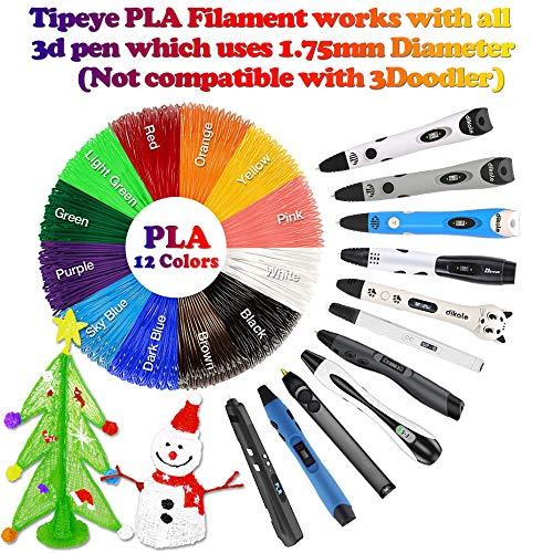 Tipeye 3D Stift Nachfüller 12 Farben 6,1 M, 3D Stifte Filament 1,75mm, 3D Stift Farben Set für ODRVM, Uvistare, Sunlu, PLUSINNO, QPAU, Lovebay, Nexgadget und dikale 3D Druckstift - 2