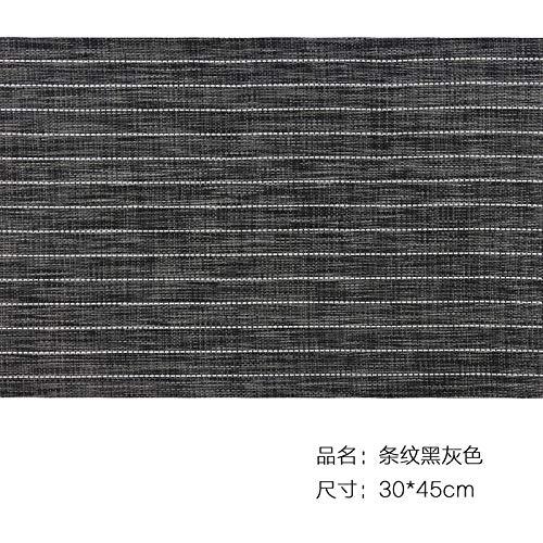 Leisial 6PCS Sets de Table Rayé Antidérapant PVC Matériau Environnement Resistant à la Chaleur Résistance à l'abrasion pour Table à Manger(Noir et Gris)