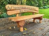 Gartenbank aus Massivholz mit Lasergravur von Ihrem Wunschtext | Farbe Eiche - Parkbank aus Akazien- und Tannenholz | Perfekt als Hochzeitsgeschenk, Geschenk