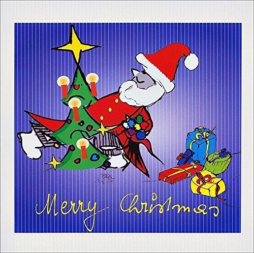 Weihnachten, Textkarte mit Motiv, von Handmadegruss edel und sinnlich für Sie hergestellt, im creme gehaltenen Farbton, mit unserem Coolmen zu Weihnachten, nach einer Kalligrafie von Volkmar Dieth
