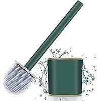 SHAYONAM (Pack of 2) Silicone Toilet Brush with Holder Slim Flex Toilet Brush Anti-drip Set Toilet Bowl Cleaner Brush…