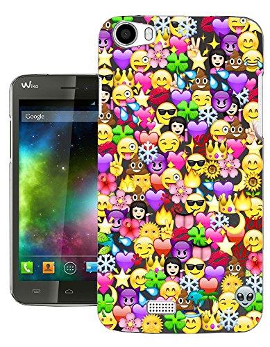 Preisvergleich Produktbild c1059 - Cool Fun Funny Emoji Wallpaper Crown Princess Poop Devil Smiley Love Heart Design Wiko Lenny 3 Fashion Trend Silikon Hülle Schutzhülle Schutzcase Gel Rubber Silicone Hülle